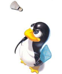 Pingouin jouant au bad